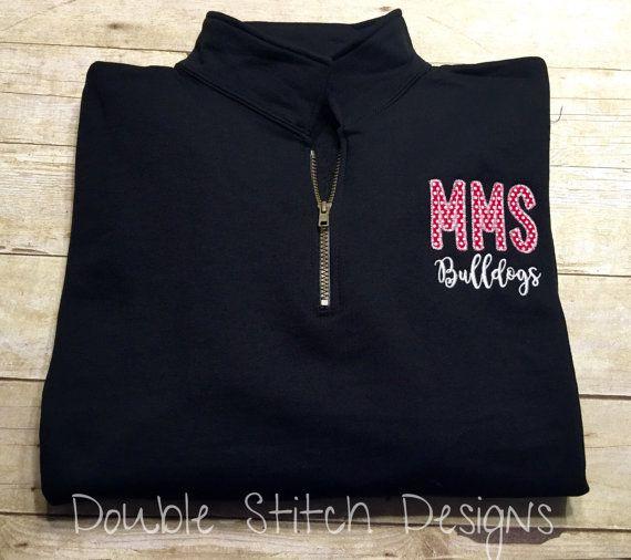 School spirit shirt, personalized teacher shirt, school spirit wear, quarter zip sweatshirt, embroidered, gift for teacher, gift for coach