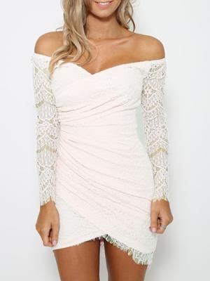 Shop Sweet Thing Off Shhoulder Dress In White from choies.com .Free shipping Worldwide.  For the Vegas wedding ;)