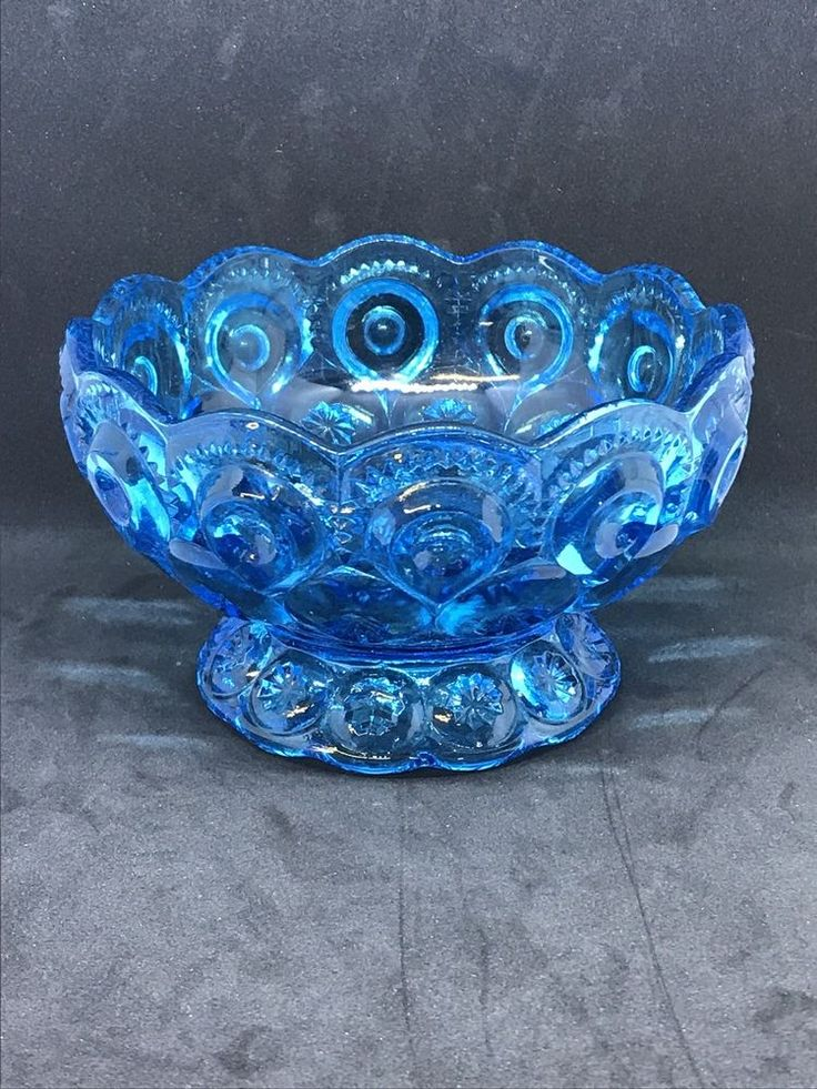 Vintage Blue Glass Candy Dish Moon And Stars LE Smith Glass Co  | eBay