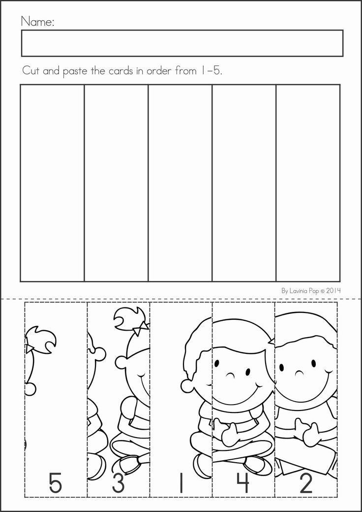 Kindergarten Back to School Math & Literacy Worksheets and Activities. 135 pages. A page from the unit: number order cut and paste: