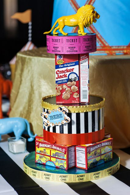 Awesome Circus Baby Shower Party centerpiece!  See more party ideas at CatchMyParty.com!