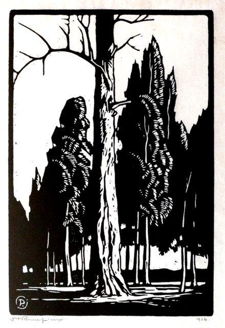 JH Pierneef - Boomstam en Denneboom