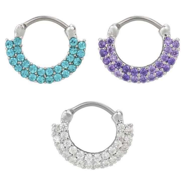 Stainless Steel Septum Piercing 2 Rows of Gemstones 16G 1.2mm