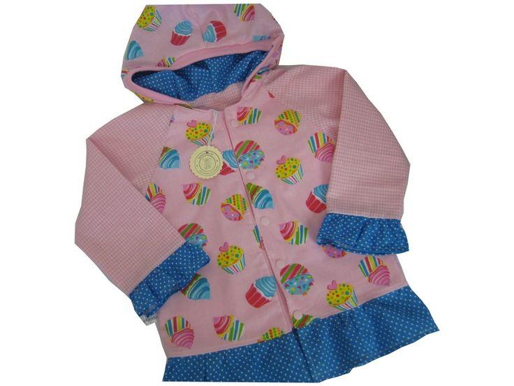 """Hier habe ich eine zauberhafte Jacke, Motiv """"Muffins"""" Rosa aus hochwertigem Baumwoll-Stoff, innen Vichy / Rosa, am Saum und an den Ärmeln mit Türki..."""