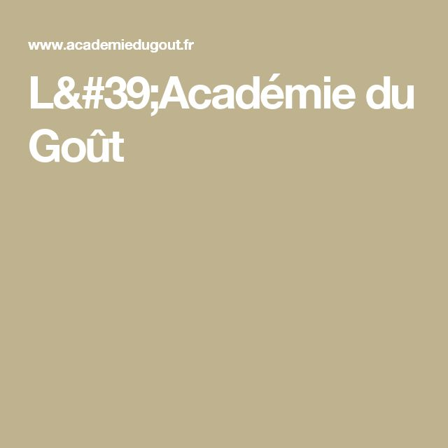 L'Académie du Goût