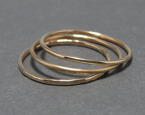 1 Single Plain Slim Stackable Ring 14k 18g by LittleSomethingsAnn