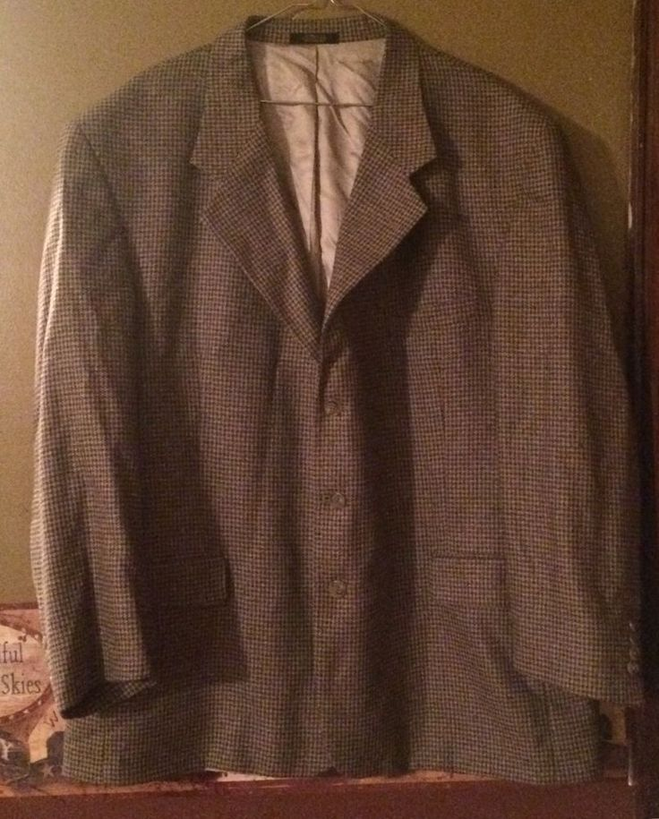 Hardwick clothes Mens Blazer Vintage Plaid Vgc 48 Regular Blue & Tan Lined #Hardwick #ThreeButton