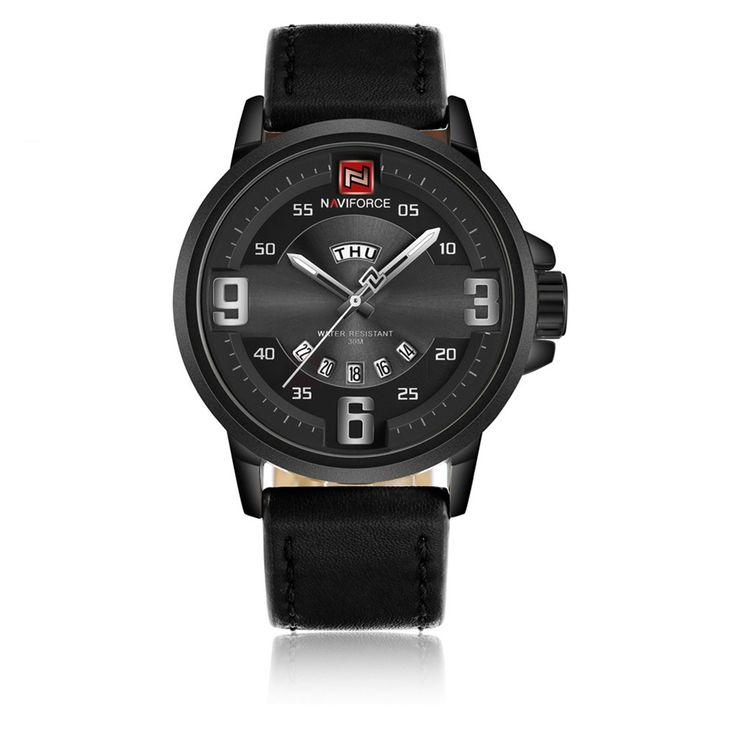 Naviforce 9086 Date Day Display Luminous Leather Watch for Men