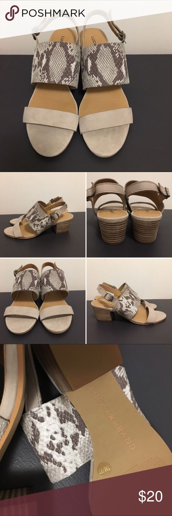 Lucky Brand Cream leather Sandals These sandals have never been worn ! Upper genuine leather - size 7 with wooden heels that measure 2 inches in height. Lucky Brand Shoes Sandals