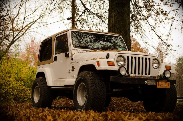 Jeep Wrangler | Flickr - CharlieSturm 1998 Sahara Jeep Wrangler White and tan, hardtop. Fall.