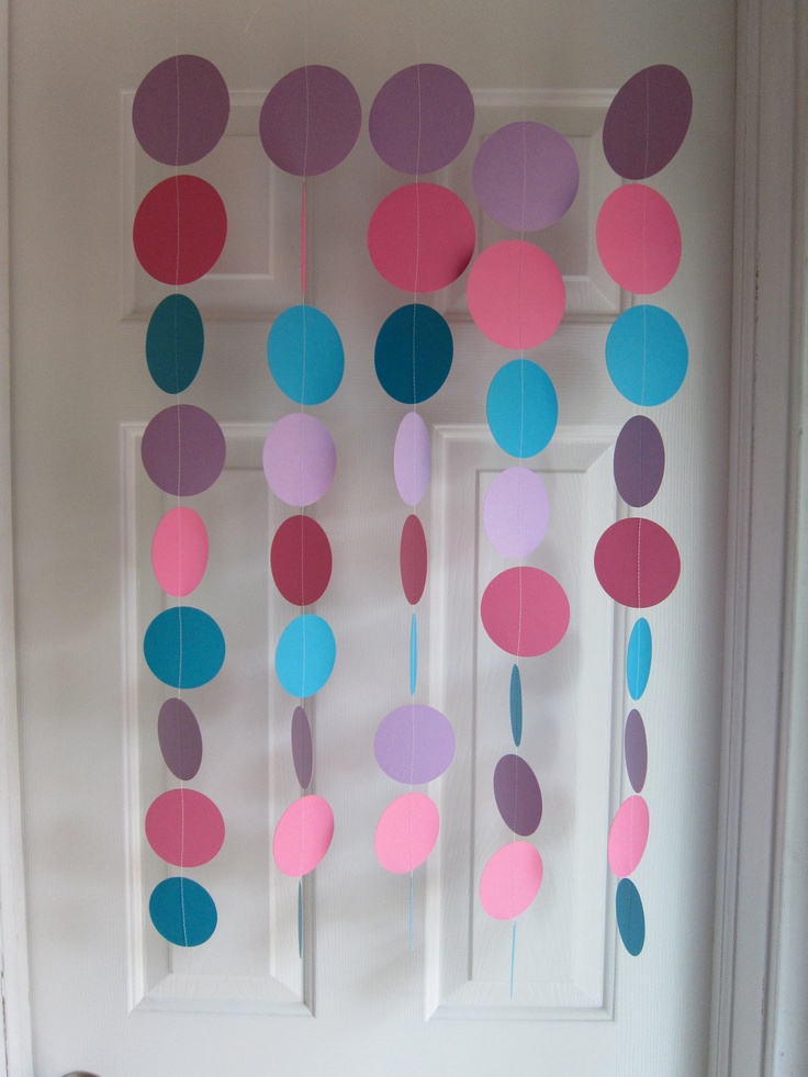 Paper Garland, Pink, Purple, and Teal Decorations, Abby Cadabby Birthday, Baby Shower, Birthday Party, Room Decoration