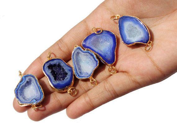 5 Pcs 24k Gold Electroplated Edge Cobalt Blue by RareGemsNJewels