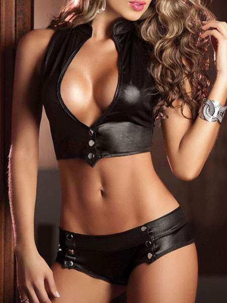 Black Backless Polyester Snap Up Woman's Pole Dancing Set - Clubwear - Women's Clothing