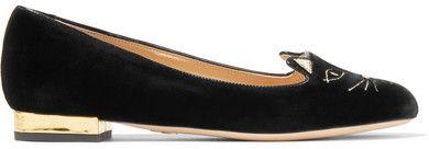 Charlotte Olympia - Kitty Embroidered Velvet Slippers - Black