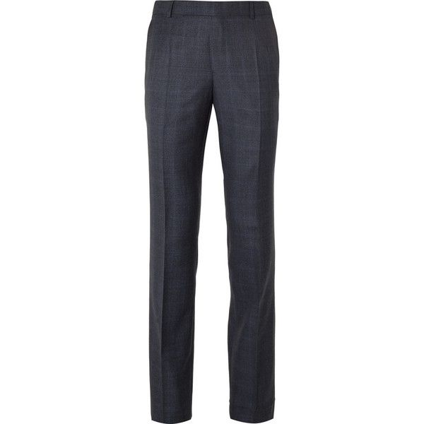 Gieves Hawkes Navy Checked Wool Suit Trousers ($495) ❤ liked on Polyvore featuring men's fashion, men's clothing, men's pants, men's dress pants, men, mens suit pants, mens dress pants, old navy mens pants, mens wool dress pants and mens navy blue dress pants