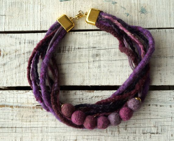 Felted necklace,purple felt necklace,felt rope collar fiber statement necklace,Felt Ball wool necklace,gift,felt jewelry for women