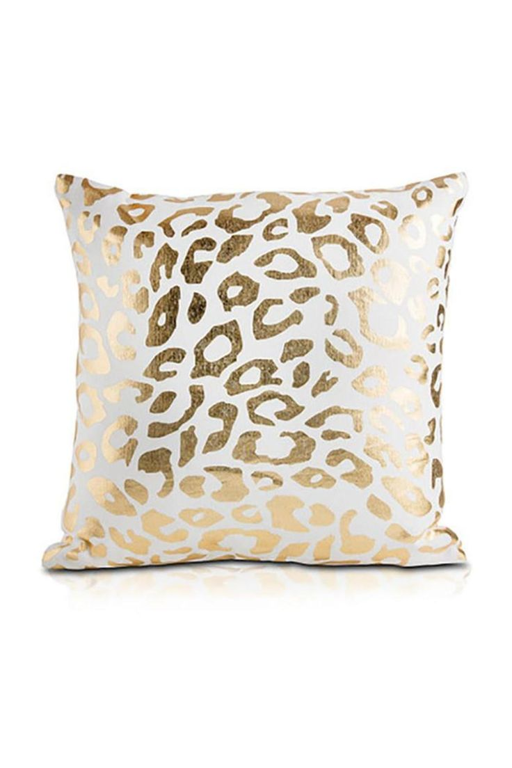 """Accessorize with the CITA's shimmer of a classic cheetah print in luxe gold foil. Explore the rebellious glamour of the Cita.    Measures: 18"""" square   Cita Decorative Pillow by Pyar & Co. Home & Gifts - Home Decor - Pillows & Throws Texas"""
