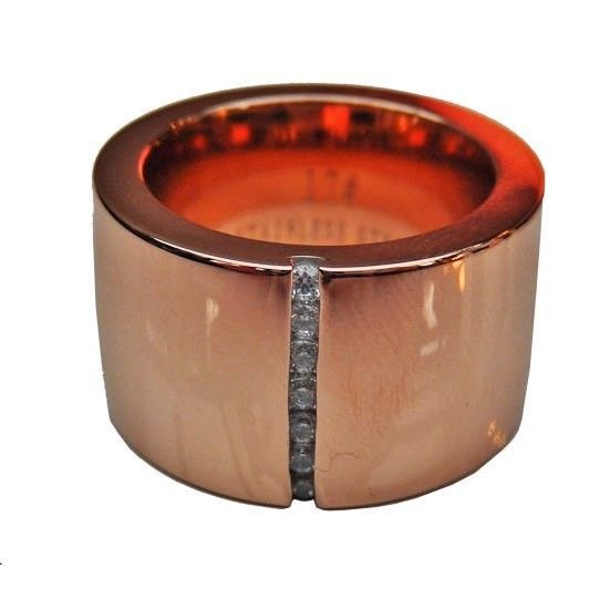 RING EDELSTAHL 15mm DAMEN ROSEGOLD ROSE GOLD mit REIHE weiße Steine Swarowski