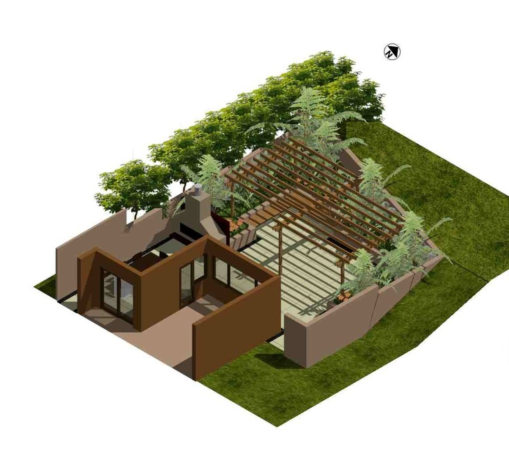 3D Concept plan of a sunken, walled courtyard. Designed by Fusion Landscape Design. www.fusionlandscapedesign.co.nz