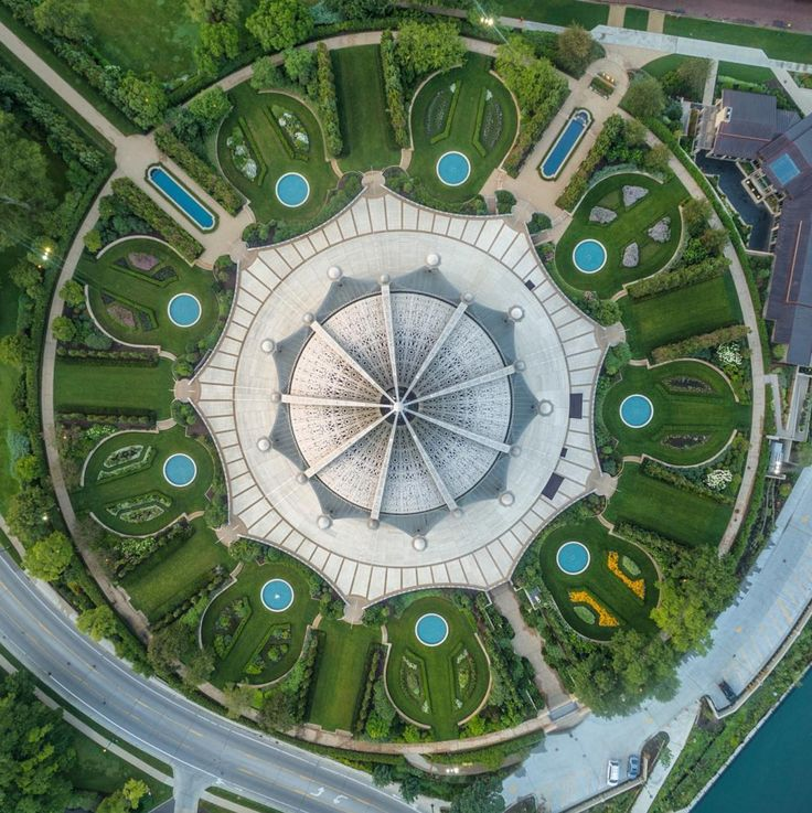 The Baha'i House of Worship in Wilmette, Illinois, is the oldest surviving Baha'i House of Worship in the world and the only one in the United States. The building contains an auditorium that seats 1,191 people beneath a 138 foot-high (42 m) domed structure.  - photo from dailyoverview on Tumblr  (7/26/16)