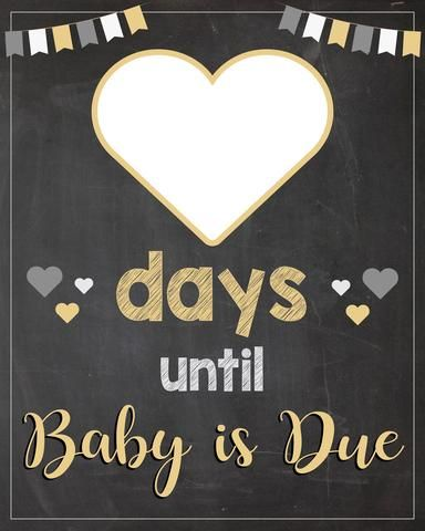 Baby Due Date Countdown sign PRINTABLE days until baby is due chalkboard INSTANT DOWNLOAD due date