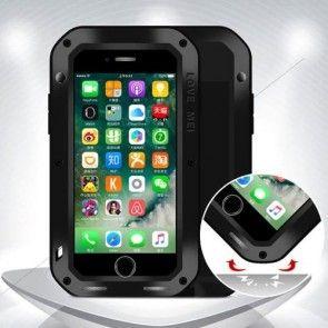 Husa iPhone 7 4.7 , Protectie Extrema, Metal+Silicon, LOVE MEI,Shockproof, Culoare Neagra