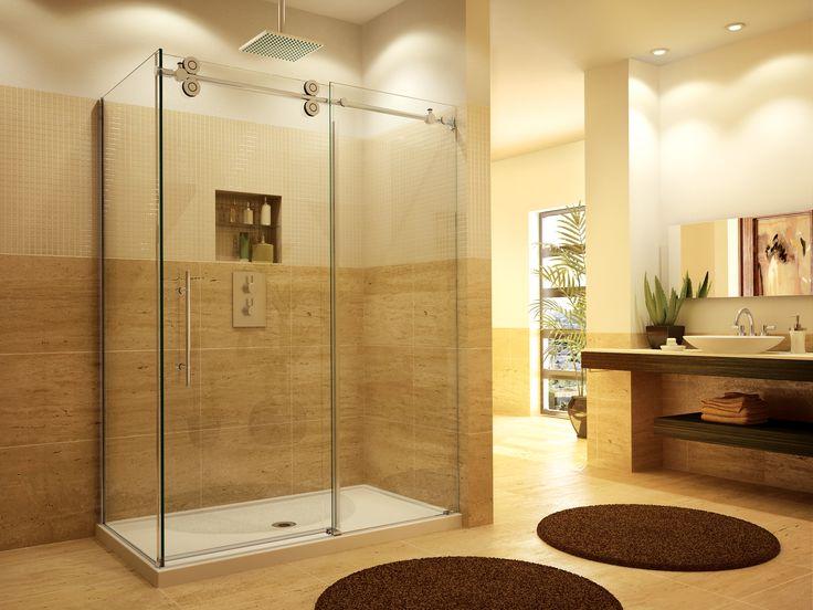 A modern frameless heavy glass sliding shower door - great for a modern bathroom that needs a sliding panel