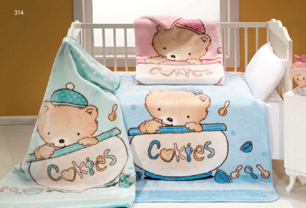 Dětskou deku MINK BABY_314 100x120 cm se vzorem malého medvídka schovávajícího se v cookies nádobě si oblíbí každé dítě!