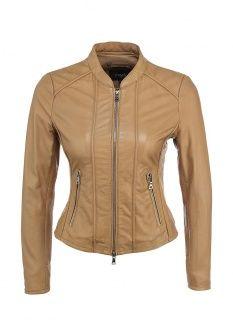 Куртка кожаная Arma, цвет: бежевый. Артикул: AR020EWEOK93. Женская одежда / Верхняя одежда / Кожаные куртки