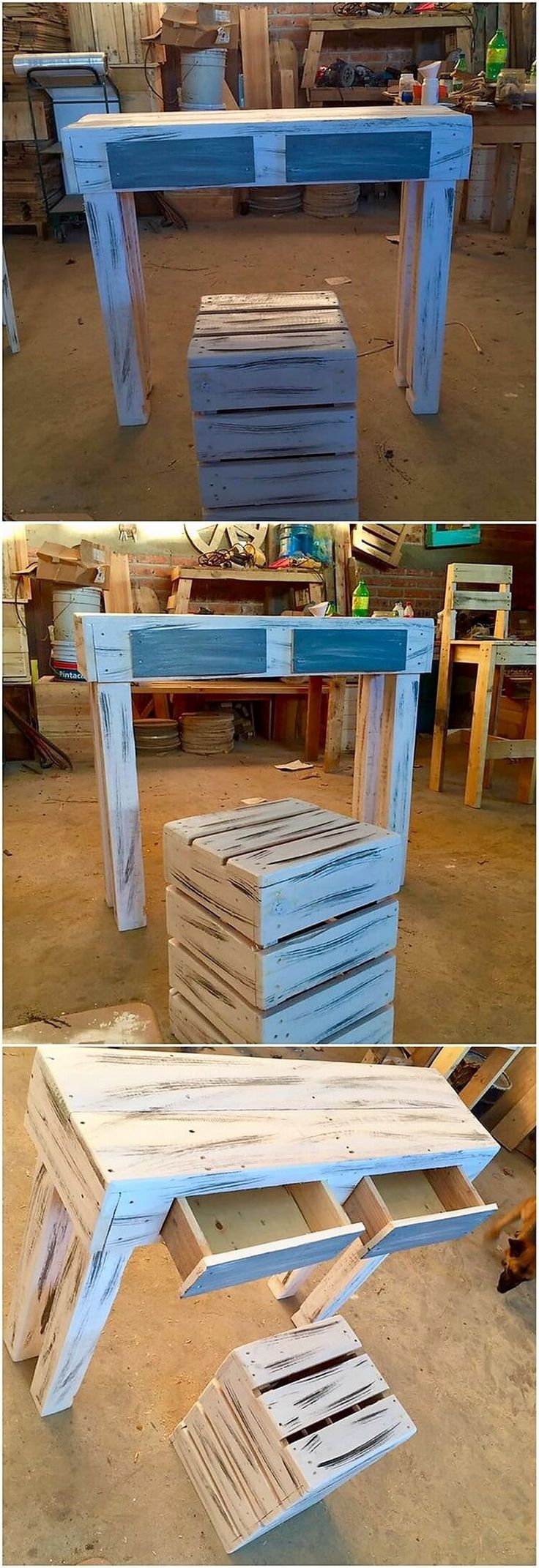 This wood pallet stylish study table creation is a masterpiece for your house kids room. You would love the rustic pattern wood pallet designing over the top of the table that make it look so awesome in appearance through the pairing that is done with the stool use into it.