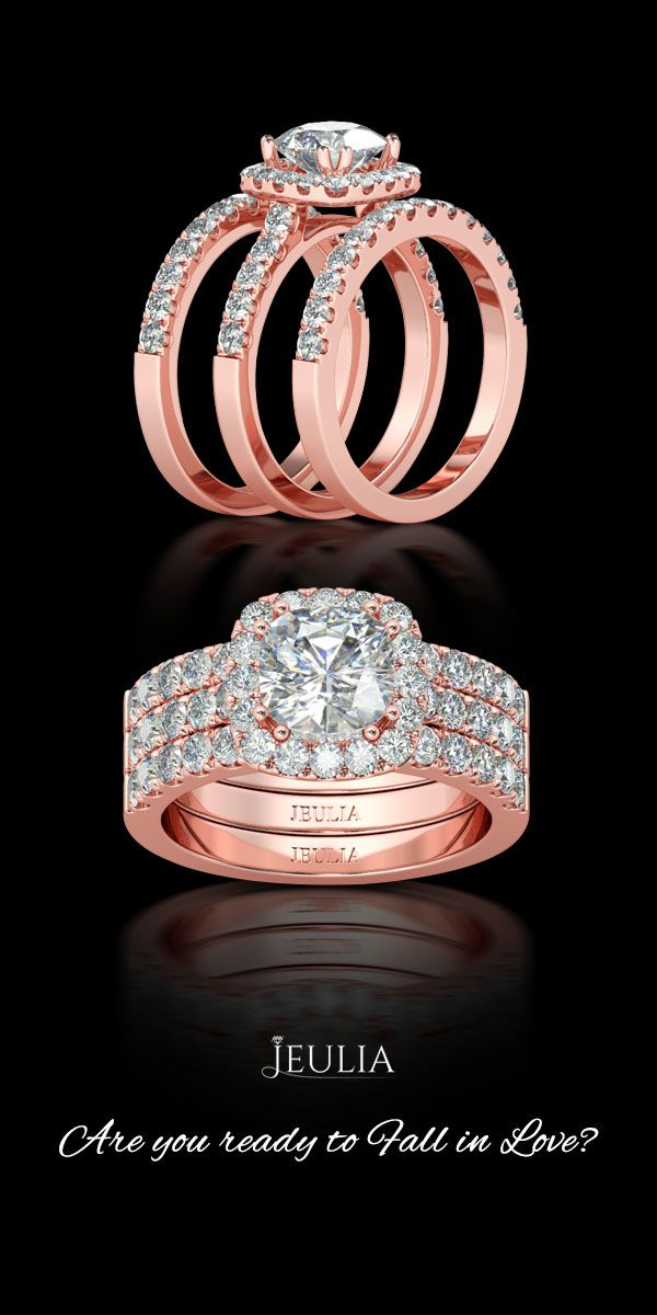 Jeulia 3PC Rose Gold Halo Cushion Cut Created White Sapphire Wedding Set #Jeulia