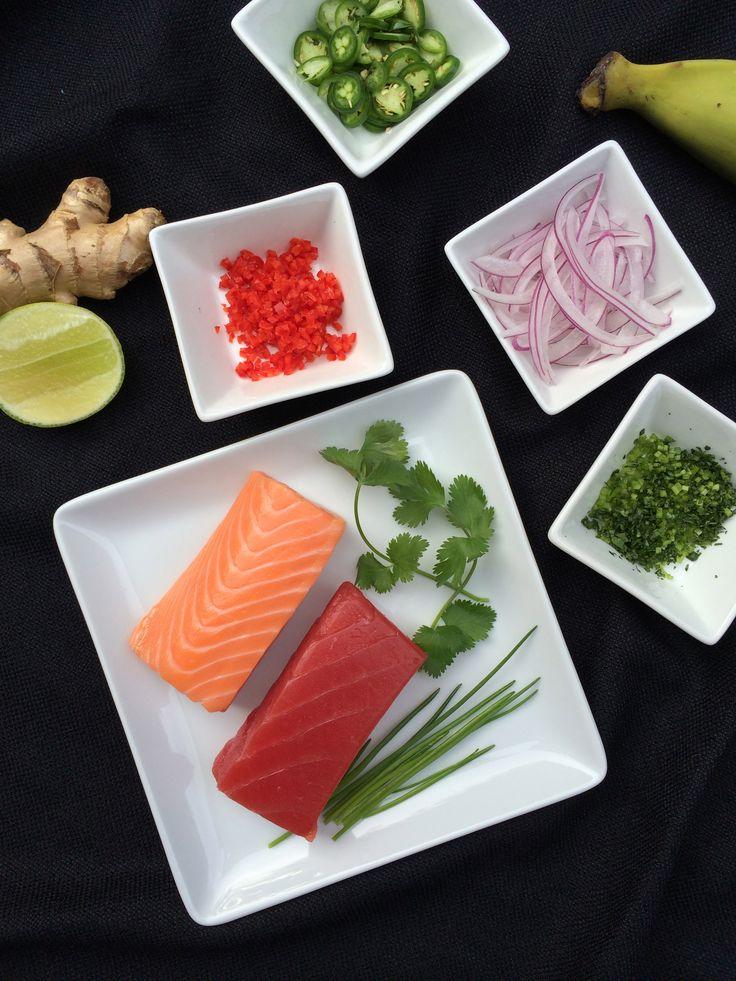 ceviche de salmón y atún estilo poke