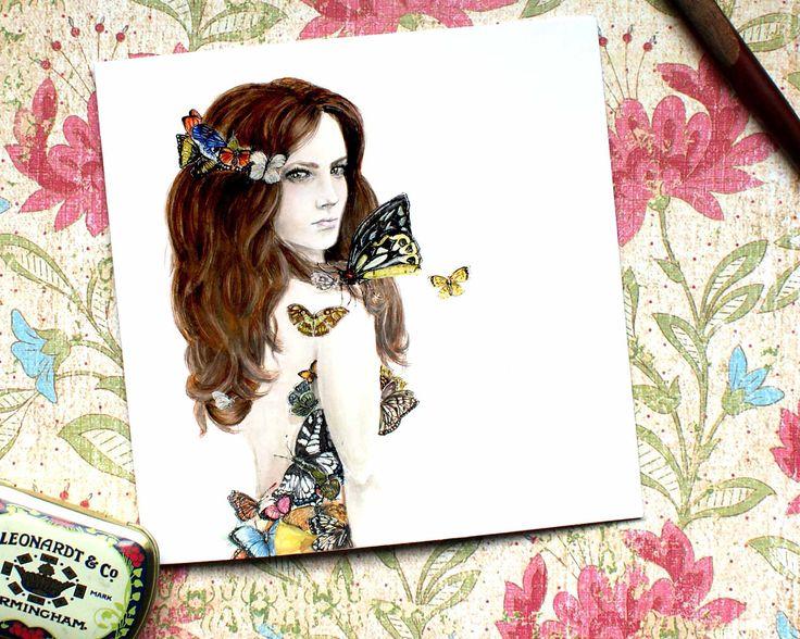 Butterfly Card, Fine Art, Card for Her, Mum Card, Sister Card, Wife Card, Best friend Card, Butterfly Artwork, Birthday Card, CV25 by BEEcardsUK on Etsy