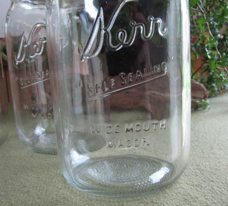 Vintage Kerr Mason Jar Set of Five (5) Wide Mouth Fruit or Canning ...