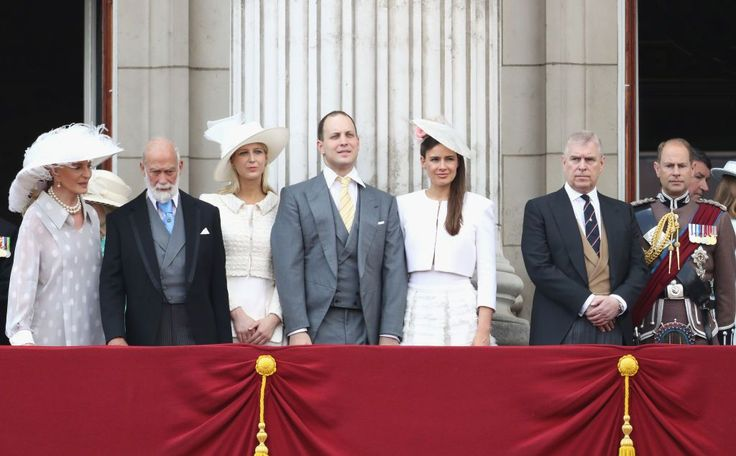 Princess Michael of Kent, Prince Michael of Kent, Lady Gabriella Windsor, Lord Frederick Windsor, Sophie Winkleman, Prince Andrew, Duke of York and Prince Edward, Earl of Wessex look out from the balcony of Buckingham Palace during the Trooping the Colour parade on June 17, 2017 in London, England.