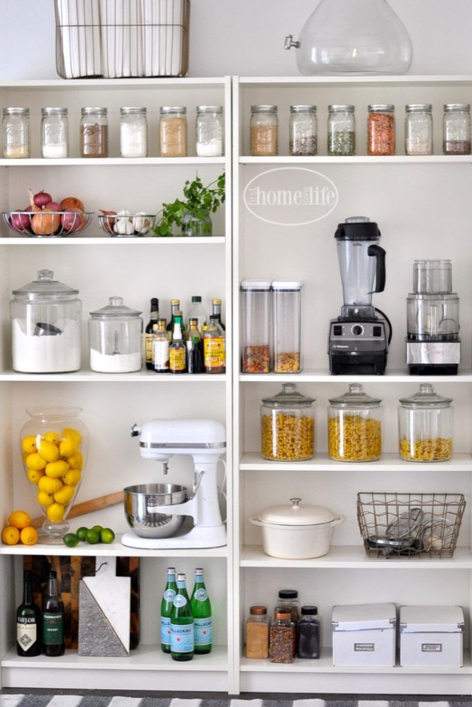 Open Pantry Using Bookshelves Kitchen Storage
