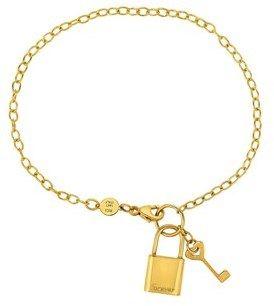 JewelryAffairs 14k Yellow Gold Chain Lock And Key Bracelet, 7.5.