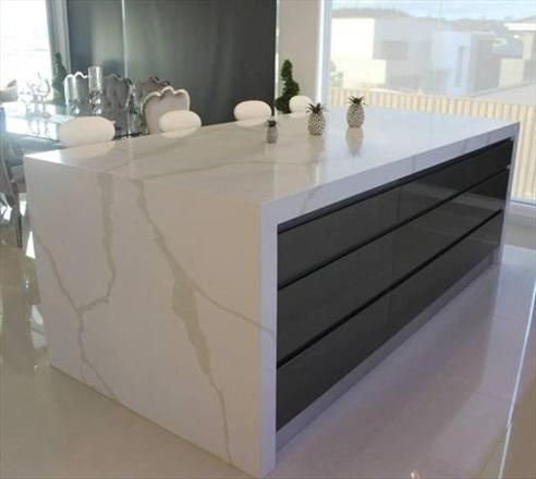 "Quantum Quartz in 'Calcutta Quartz' ""The look and feel of marble without worrying about scratches and stains""  www.gbi.com.au"