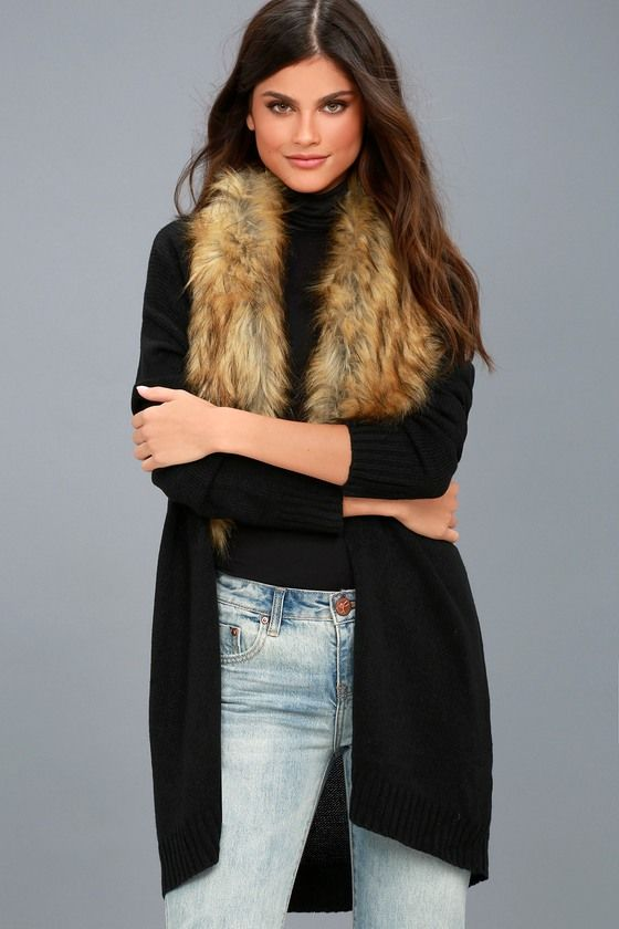 Madison Avenue Black Faux Fur Cardigan Sweater