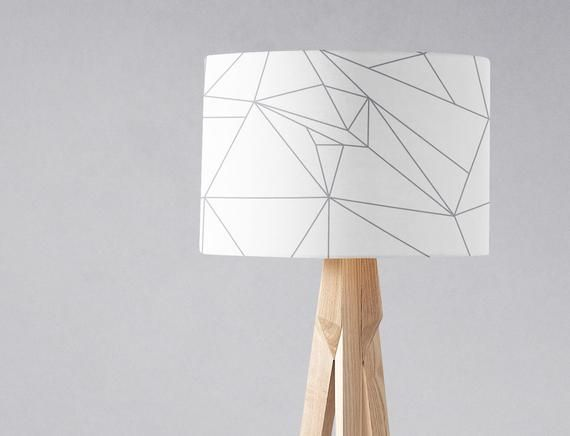 White Lampshade Grey Lampshade White Home Decor Modern Lamp Shades Geometric Lampshade Statement Lampshade Floor Lamp Grey Decor In 2020 White Lamp Shade Modern Lamp Shades Lamp Shades