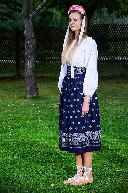 krasavrukach / Dámska skladaná sukňa - modrá.