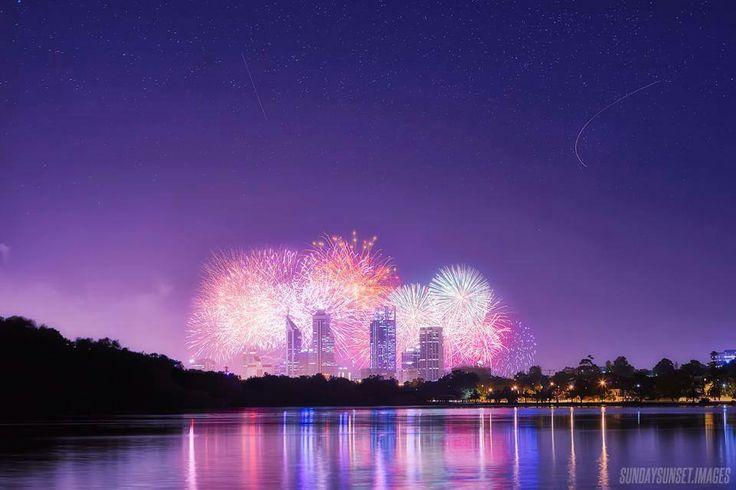 Australia Day fireworks over Perth city