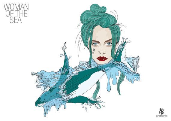 Woman of the Sea Digital print by grgraphic on Etsy