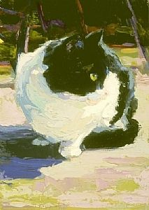 Sweetie Pie (my cat) and the real cat in this painting by Rita Curtis (Ribbon was the artist's cat)