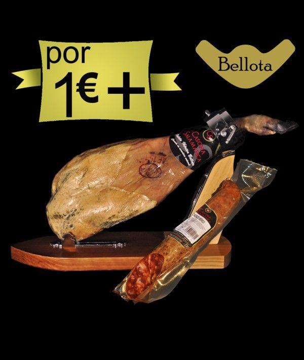 Por 1,00€ más 1 #paleta #ibérica de bellota, 1/2 #chorizo #ibérico de bellota o 1/2 #salchichón #ibérico de bellota. Mira el precio. http://www.jamonibericosalamanca.es/es/promocion