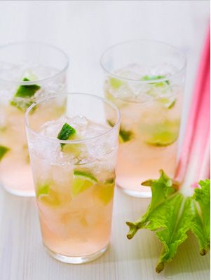 pink lemonade with cucumber cocktail.