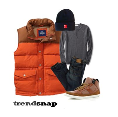 This outfit is just the look you need for game days or just to stay warm while out and about! Vest from Old Navy, Hollister jeans, Abercrombie thermal and River Island sneakers.  Guy's style, boyfriend, men's Trendsnap.us