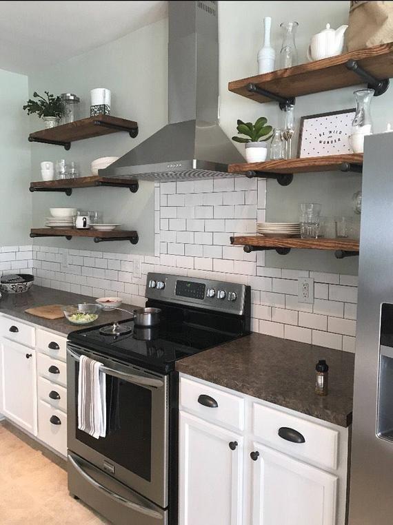 Any Size Floating Shelves, Kitchen Shelves, Industrial Pipe Shelves, Open Shelving, Laundry Room & Bathroom Wood Wall Shelves