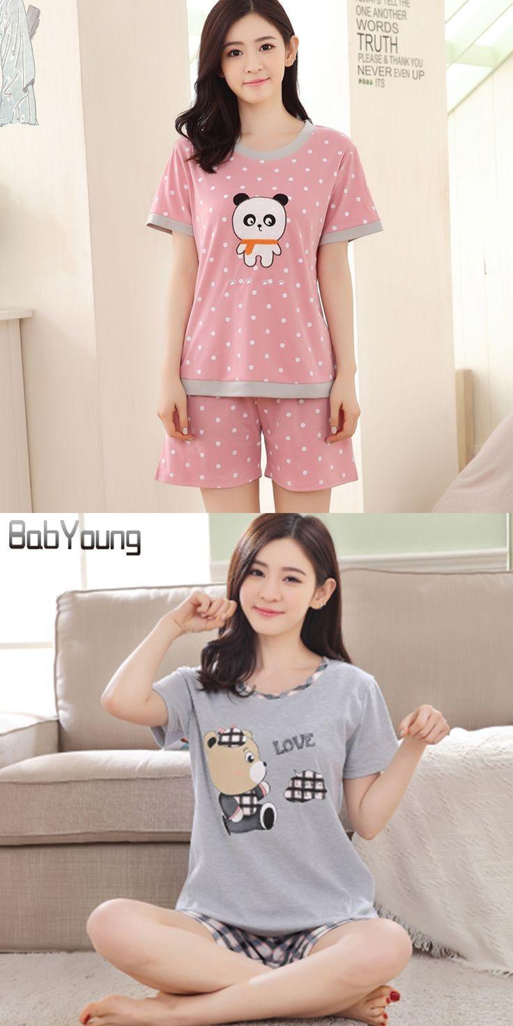 LIKEPINK 2017 Summer Women Pajamas Cute Cartoon Womens Homewear Cotton O-neck Short Sleeve Pyjamas Sets Women Pijamas Feminino
