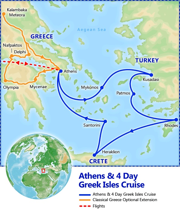 Athens & 4 Day Greek Isles Cruise plus Classical Greece optional extension itinerary. Athens & 4 Day Greek Isles Cruis - Discount Vacation Packages by Friendly Planet Travel